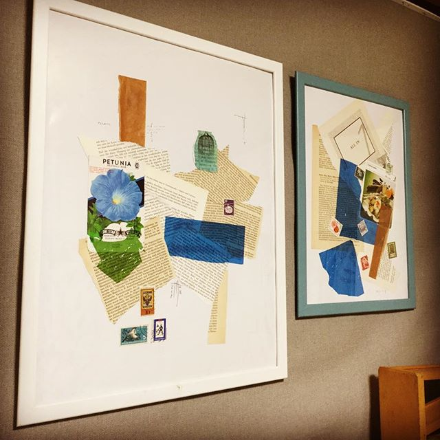 my art work is left. right one is my son's.#束の舎 #tsukanosha #つかのしゃ #nohsha #brocca #brocante #東京 #三鷹 #Mitaka #武蔵野 #雑貨 #ブロカント #古道具 #がらくた #レトロ #蚤の市  #stamp #切手 #古切手 #紙もの #素敵 #古いもの #アジ紙 #味紙 #scrapbook #collageart  #コラージュ - from Instagram